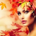Women with healthy skin in autumn
