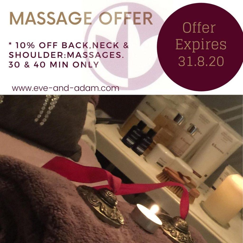 10% off all Back Massages